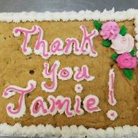 Thank You Jamie Chocolate Chip Cookie Cake